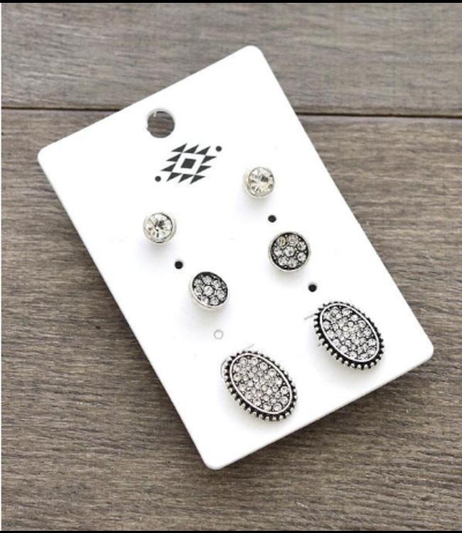 3pc Set Rhinestone Earrings