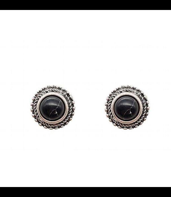 Black Stone Post Earings