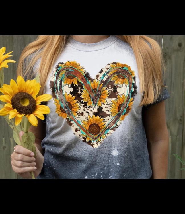 Cowhide Sunflower Heart Tshirt
