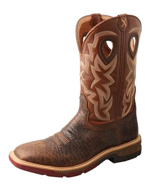 """Twisted X Men's 12"""" Western Work Boot - Choc &Spice"""