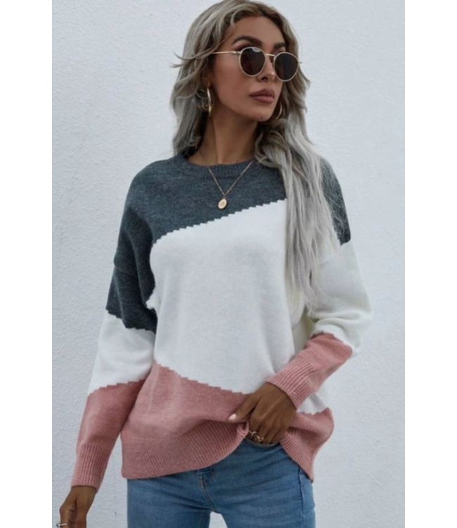 Chic Multi Color Block Round Neck Sweater