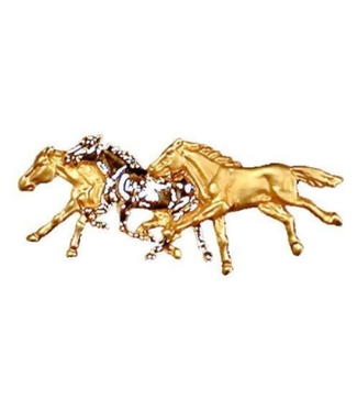 Three Horses Gold and Platinum Plated Stock Pin