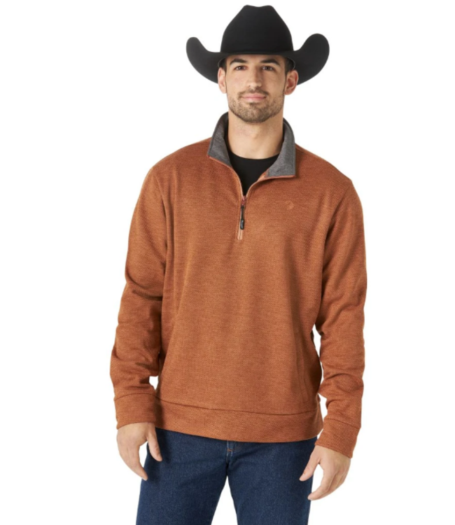 Wrangler George Strait Collection Brown Quarter-Zip Knit Pullover