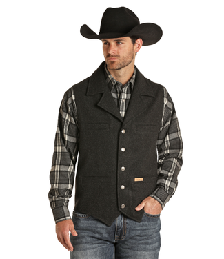 Powder River Outfitters Mens Vest - Black Heather