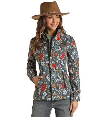 Powder River Outfitters Ladies Performance Rodeo Softshell Jacket - Aztec Print