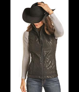 Ladies Zebra Print Softshell Vest - Black