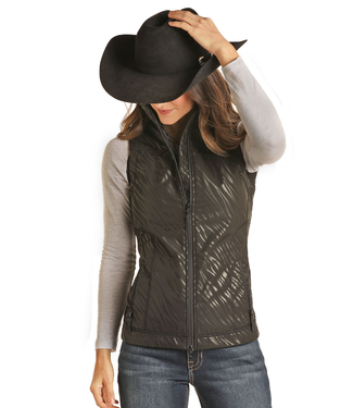 Powder River Outfitters Ladies Zebra Print Softshell Vest - Black