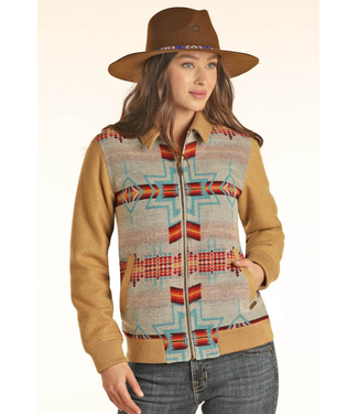 Powder River Outfitters Ladies Aztec Jacquard Wool Bomber Coat