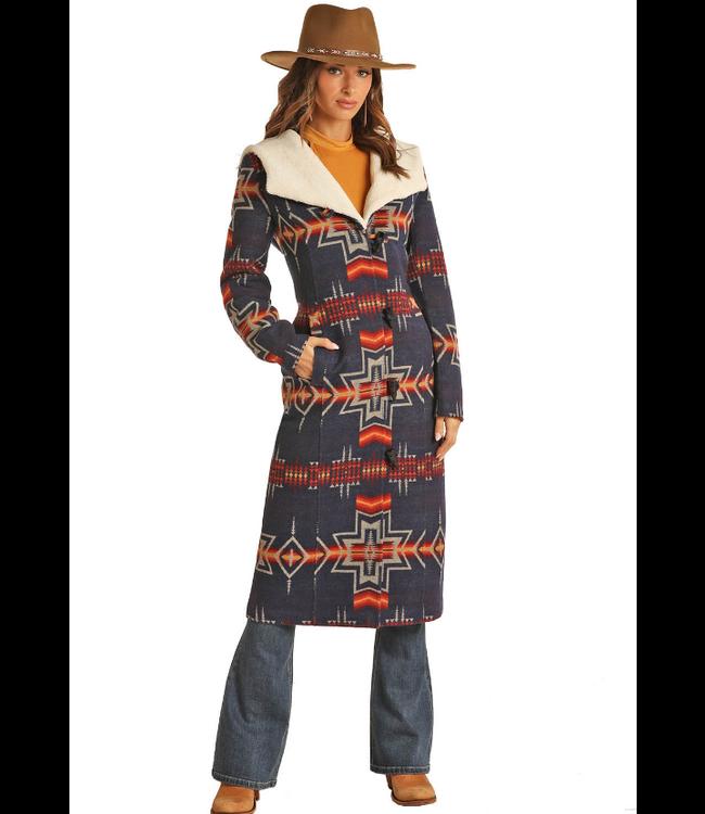 Powder River Outfitters Ladies Aztec Jacquard Wool Long Coat