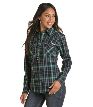 Powder River Outfitters Ladies LS Brushed Cotton Herringbone Plaid Snap - Navy