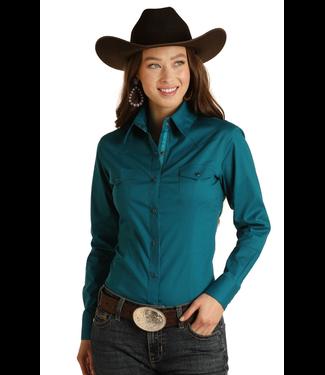Panhandle Slim Ladies LS Solid Stretch Snap Front Shirt - Teal