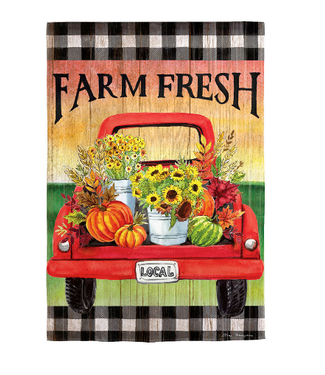 Evergreen Enterprises Farm Fresh Flower Truck Garden Suede Flag