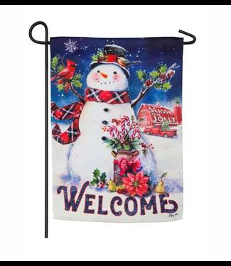 Evergreen Enterprises Christmas Barn Snowman Garden Suede Flag