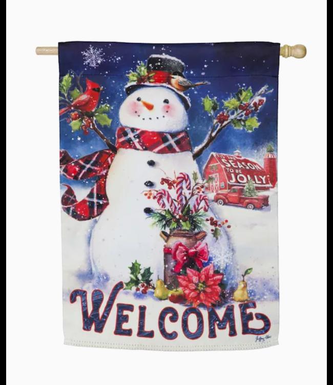 Evergreen Enterprises Christmas Barn Snowman House Suede Flag