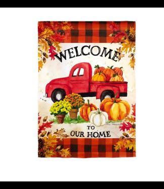 Evergreen Enterprises Pumpkin Farm Truck Garden Suede Flag