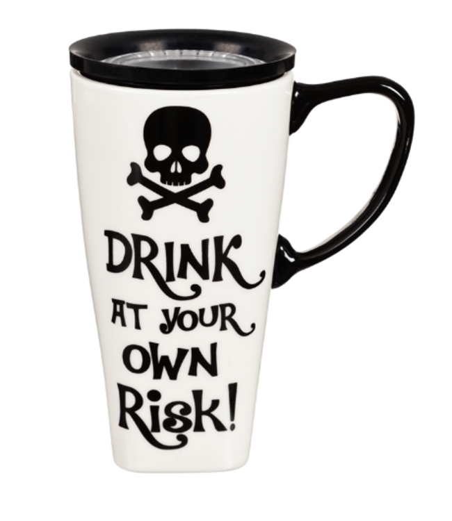 Evergreen Enterprises Ceramic FLOMO 360 Travel Cup, 17 oz, Drink At Your Own Risk!
