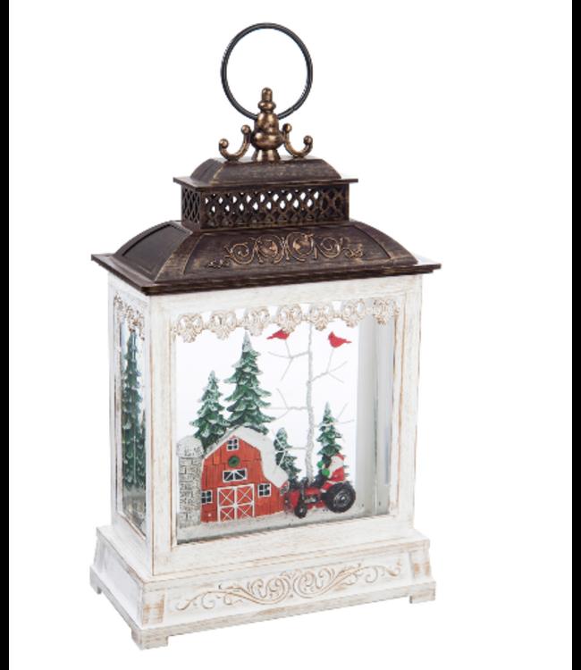 """Evergreen Enterprises 11"""" LED Musical Lantern Table Decor, Winter Barn"""