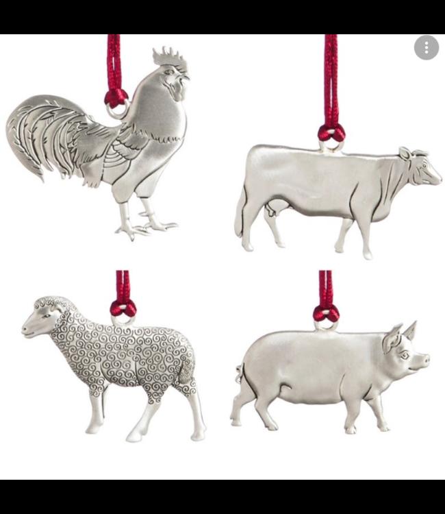 Evergreen Enterprises Farm Friend Pewter Ornament, 4 Assorted