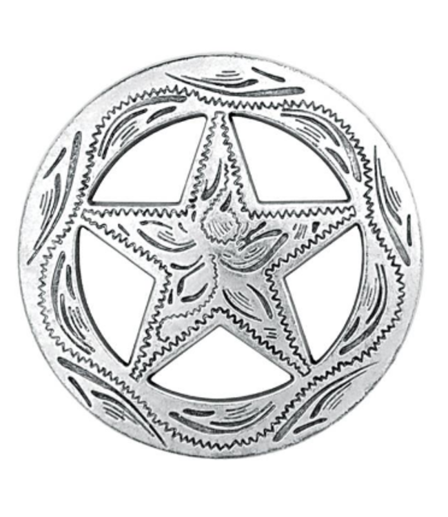 """Weaver Antique Silver Star Etched Concho 1 1/4"""""""