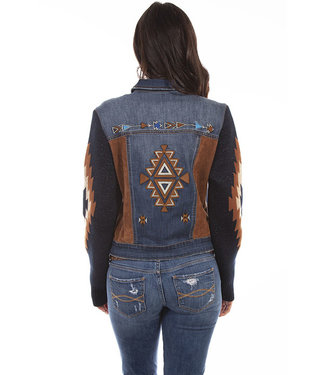 Scully Aztec Embroidered Jean Jacket