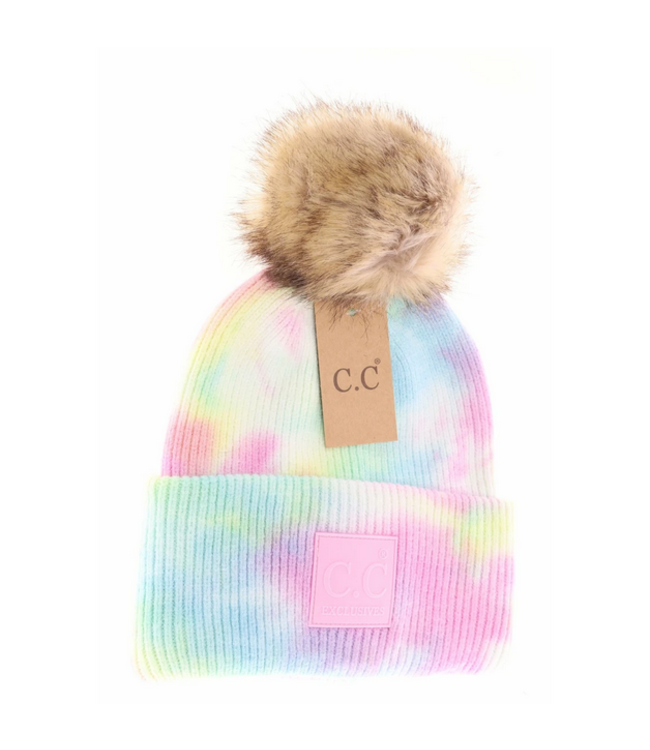 C.C CC Tie Dye Fur Pom Beanie HAT3780POM