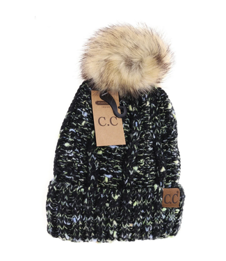 C.C CC Fuzzy Lined Confetti Knit Fur Pom