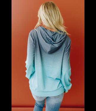 Stay Warm In Style Zoe Ombre Hoodie - Blue
