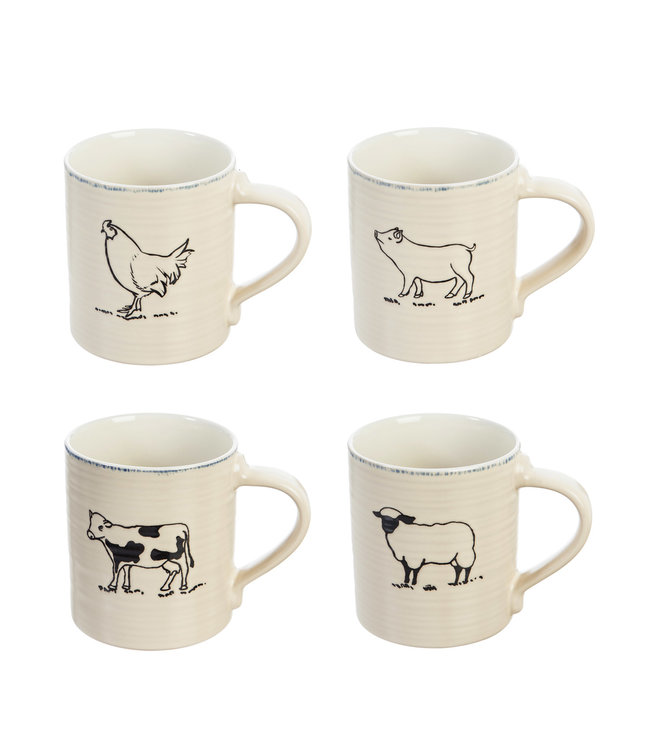 Evergreen Enterprises Ceramic Cup, 16 OZ with bow, Farmhouse, 4 Asst