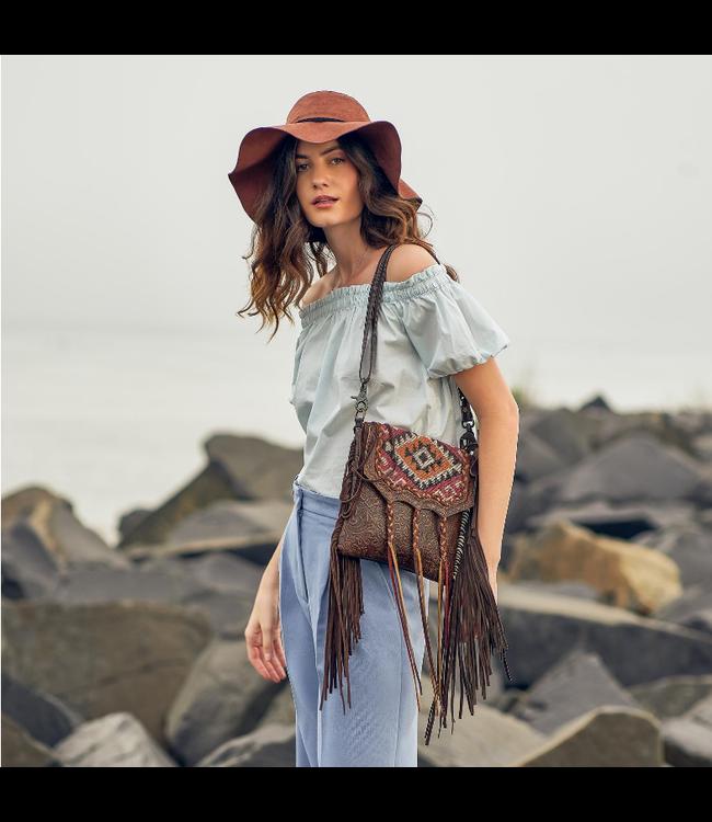 Myra Bag Aztec Motif Leather & Hairon Bag