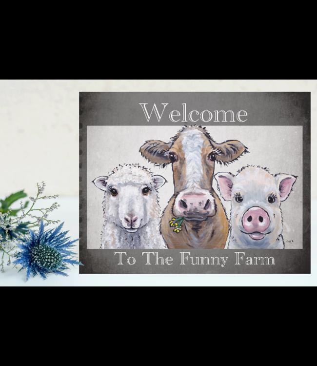 Hippie Hound Studios Funny Farm - Trio Welcome Sign on Metal