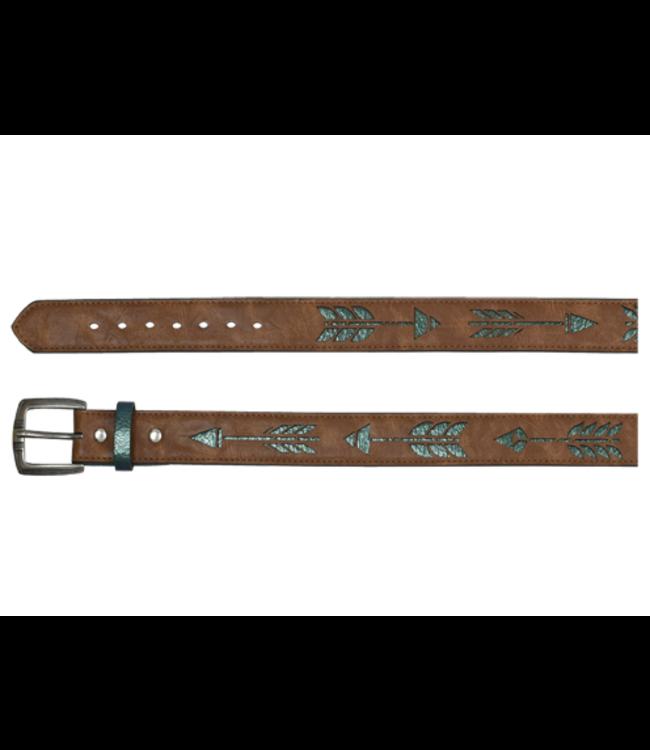 Catchfly Catchfly Girls Belt Metallic Turq Underlay