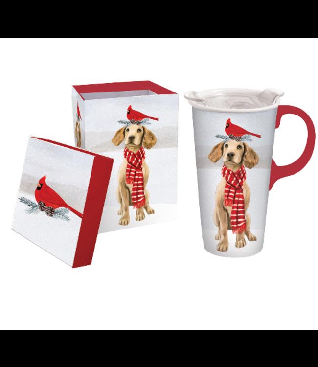 Evergreen Enterprises Holiday Ceramic Travel Cup w/Lid, 17oz