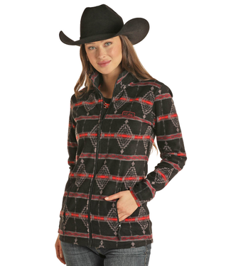 Powder River Outfitters Ladies Full Zip Perf Fleece - Aztec