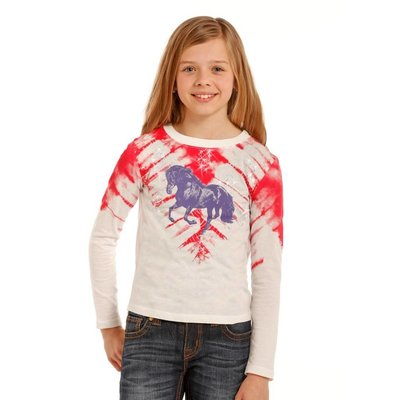 Panhandle Slim Girl's Shirt Red Tie Dye, Purple Horse G4T3365