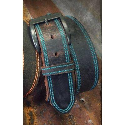 3D Men's Belt Brown with Blue Stitching 1192