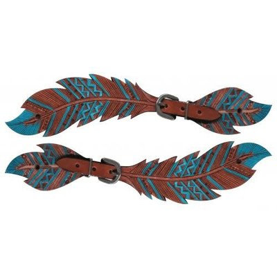 Showman Painted Feather Spur Straps