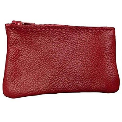 Leather Zippered Cosmetic Pouch