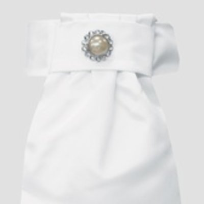 Pre-Tied Luxury Stock Tie w/Pearl Accent