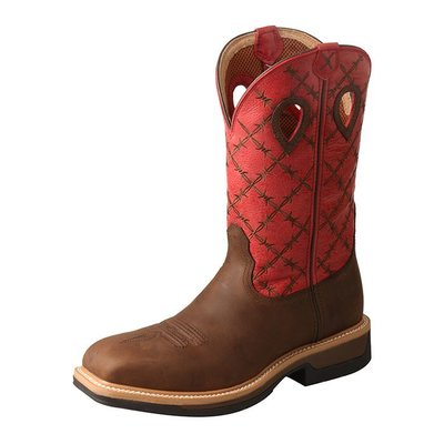 Twisted X Men's Lite Work Boot Alloy Toe Brown/Flash Red