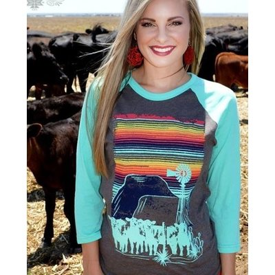 Crazy Train Clothing Cattle Kate Baseball Tee
