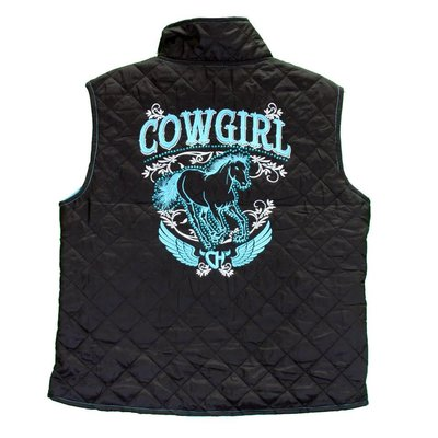 Cowboy Hardware Youth Cowgirl Horse Quilted Vest, Black