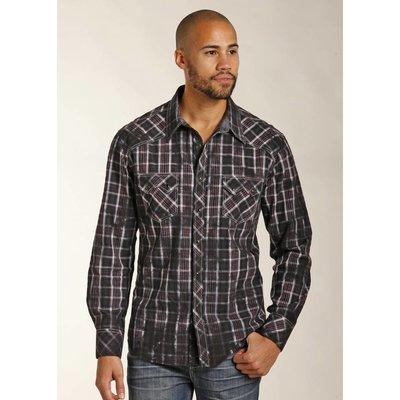 Panhandle Slim Distressed Black Plaid Western Shirt B2S3131
