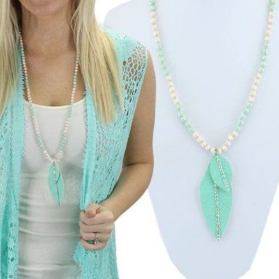 Crystal Feather Leather Necklace - Mint Green