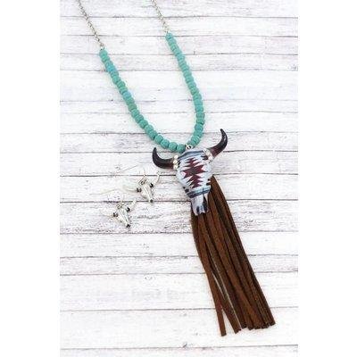 Beaded Tassel Steer Jewelry Set