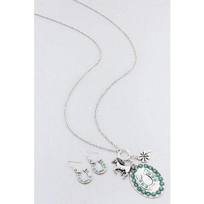 Beaded Turquoise Horseshoe Jewelry Set