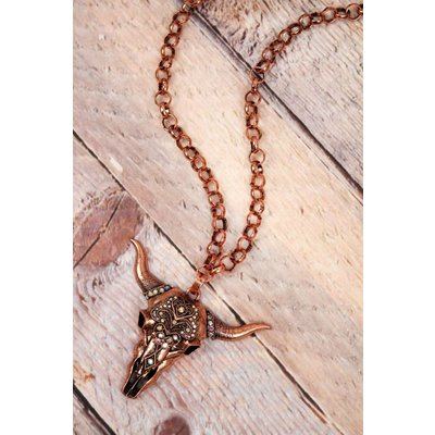 Copper Crystal Steer Necklace
