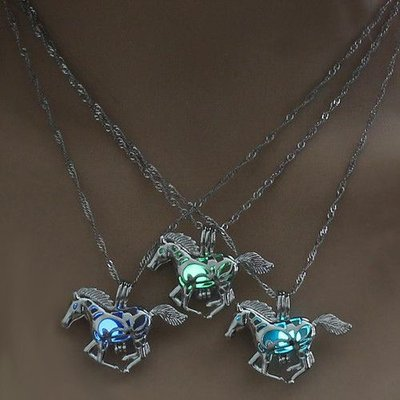 Glow in the Dark Horse Necklace Blue