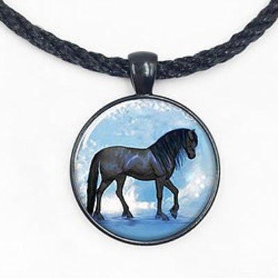 Round Black Horse Pendant
