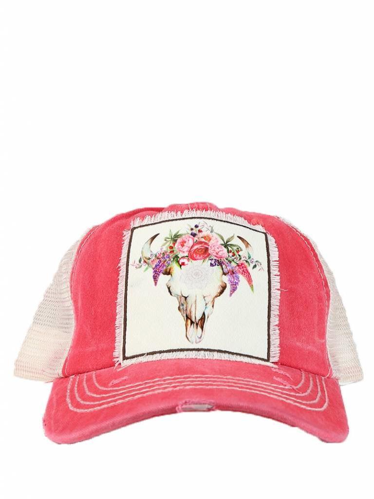 021252508f0 Floral Bull Skull Cap Coral - Diamond Royal Tack