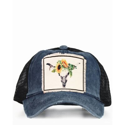 Sunflower Bull Skull Ponytail Cap